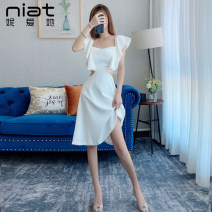 Dress / evening wear Weddings, adulthood parties, company annual meetings, daily appointments S M L white fashion Short skirt High waist Summer 2020 A-line skirt square neck zipper spandex 18-25 years old 6281A Sleeveless Solid color NIAT Lotus leaf sleeve Exclusive payment of tmall