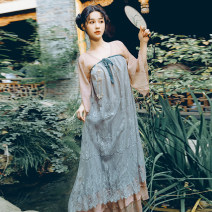 Dress Summer 2020 Blue powder S, M longuette Long sleeves commute V-neck High waist Big swing pagoda sleeve 18-24 years old Retro