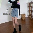skirt Summer 2021 S,M,L Blue, black Short skirt High waist Solid color Type A Denim