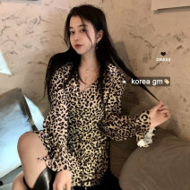 Dress Spring 2021 Leopard Print S,M,L Middle-skirt singleton  Long sleeves commute V-neck Leopard Print zipper other other Type A Retro Pleating, lace up, zipper, printing other
