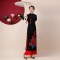 cheongsam Winter 2020 S M L XL XXL XXXL 4XL 5XL Black coat red trousers black coat rose trousers Short sleeve long cheongsam Retro High slit perform Oblique lapel Decor Over 35 years old Piping QBS 1171 A thousand thoughts other New polyester 90% other 10% Pure e-commerce (online only)
