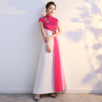 cheongsam Autumn of 2019 Custom size (no return, no change) s ml XL XXL XXXL 4XL 5XL Picture color Short sleeve long cheongsam ethnic style No slits perform Round lapel Big flower Over 35 years old Embroidery QP 1112 A thousand thoughts other New polyester 80% other 20% Pure e-commerce (online only)