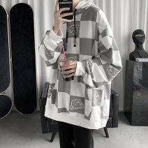 Sweater Youth fashion DHW White dark grey Khaki S M L XL 2XL 3XL Geometric pattern Socket routine Hood spring easy leisure time teenagers tide routine DH21WY0956 Fleece  Polyester 100% cotton printing washing Spring 2021 Kangaroo pocket Pure e-commerce (online only) Japanese and Korean style