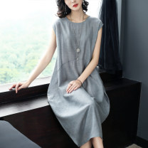 Dress Summer 2021 Black, Navy, silver grey S,M,L,XL,2XL,3XL Mid length dress singleton  Sleeveless commute Crew neck Loose waist Decor Socket Lantern skirt routine Others 35-39 years old Type O lady Three dimensional decoration other other