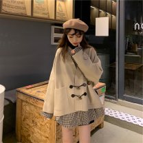 Women's large Winter 2020, autumn 2020 S,M,2XL,3XL,4XL,L,XL Other oversize styles Two piece set commute easy thickening Socket Long sleeves Korean version Polo collar Medium length Polyester, cotton Three dimensional cutting raglan sleeve 18-24 years old Button 51% (inclusive) - 70% (inclusive)