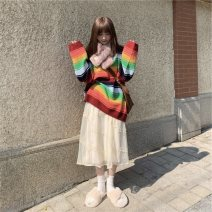Women's large Winter 2020, autumn 2020, spring 2021 Rainbow sweater, mesh skirt Large L, large XL, s, m, 2XL, 3XL, 4XL sweater Two piece set commute easy thickening Socket Long sleeves Stripe, solid color Korean version Crew neck routine Polyester, cotton, acrylic Collage raglan sleeve Lace stitching