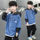 Sweater / sweater Bridges bear Blue black white 1 2 3 male 110cm 120cm 130cm 140cm 150cm 160cm 170cm spring and autumn No detachable cap leisure time Socket routine There are models in the real shooting cotton Solid color Other 100% A1122 other Cotton liner Spring 2021