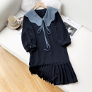 Dress Spring 2021 Yellow, navy blue M, L longuette singleton  Long sleeves commute Doll Collar High waist Solid color Single breasted Pleated skirt routine Others Type H Splicing 31% (inclusive) - 50% (inclusive) other