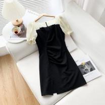 Dress Summer 2021 Long black skirt, short black skirt XS,S,M,L,XL longuette singleton  Short sleeve commute V-neck High waist Solid color Socket A-line skirt routine Type A Splicing 51% (inclusive) - 70% (inclusive) other