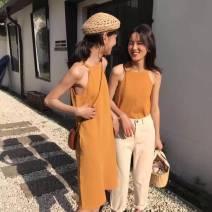 Dress Summer of 2018 Black vest, black dress, orange vest, orange dress Average size