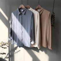 shirt S,M,L,XL Spring 2021 polyester fiber 51% (inclusive) - 70% (inclusive) Long sleeves other Regular other Single row multi button routine Solid color 18-24 years old Straight cylinder