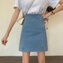 skirt Summer 2020 M,L,XL,2XL,3XL,4XL blue Short skirt Versatile High waist A-line skirt Solid color other Zipper, split