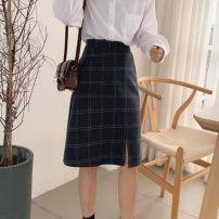 skirt Winter 2020 M,L,XL,2XL,3XL,4XL Dark blue longuette commute High waist A-line skirt lattice Type A Wool Asymmetry, zipper, split Korean version