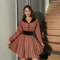 Dress Spring 2021 Caramel, caramel pre-sale XS,S,M,L Short skirt singleton  street High waist Pleated skirt Others 25-29 years old le palais vintage 31% (inclusive) - 50% (inclusive) cotton Europe and America