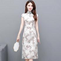 Dress Summer 2021 Decor XXL,M,3XL,L,XL Mid length dress singleton  Short sleeve commute High waist Decor A-line skirt routine Type A Other / other TYHD2803