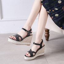 Sandals 34,35,36,37,38,39 Apricot, black Suede Other / other Barefoot Slope heel Super high heel (over 8cm) Summer 2020 Flat buckle Korean version Solid color Adhesive shoes Youth (18-40 years old) rubber daily Ankle strap Buckles Low Gang Lateral space PU PU Flat buckle Shaving
