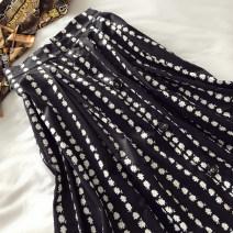skirt Summer 2020 S,M,L,XL black longuette Versatile High waist A-line skirt Broken flowers Type A 18-24 years old