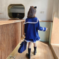 suit Nngzw / Princess nono house Blue 1, blue 2 110cm, 120cm, 130cm, 140cm, 150cm, 160cm, 170cm, the size is according to the actual height female spring and autumn princess Long sleeve + skirt 2 pieces There are models in the real shooting double-breasted nothing Solid color children 003Z803 Class B