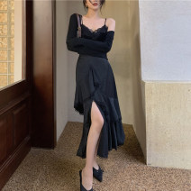 skirt Spring 2021 S. M, l, average size Mid length dress Retro High waist Irregular Solid color Type A 18-24 years old Asymmetry