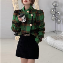 skirt Winter 2021 S,M,L black Short skirt Retro High waist A-line skirt Solid color Type A 18-24 years old