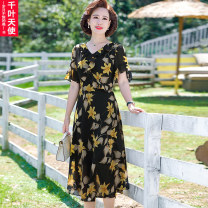 Middle aged and old women's wear Summer 2021 yellow L XL 2XL 3XL 4XL commute Dress easy singleton  Decor 40-49 years old Socket thin V-neck Medium length routine QYTS2021YSM8860 Chiba angel polyester Polyester 100% 96% and above Pure e-commerce (online only) longuette Polyester Korean version
