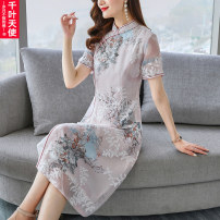 Middle aged and old women's wear Summer 2021 White light green L XL 2XL 3XL 4XL commute Dress singleton  Decor 40-49 years old Socket thin stand collar Medium length routine QYTS2021XTERZL709 Chiba angel polyester Polyester 100% 96% and above Pure e-commerce (online only) longuette ethnic style