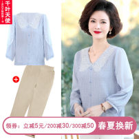Middle aged and old women's wear Spring 2021 XL 2XL 3XL 4XL fashion suit easy Two piece set Solid color 40-49 years old Socket thin Crew neck routine routine Chiba angel Button polyester Polyester 100% 96% and above Pure e-commerce (online only) Single breasted trousers
