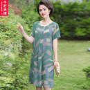 Middle aged and old women's wear Summer 2021 Green red L XL 2XL 3XL 4XL fashion Dress easy singleton  Decor 40-49 years old Socket thin Crew neck Medium length routine QYTS2021ZH969 Chiba angel pocket polyester Polyester 100% 96% and above Pure e-commerce (online only) longuette Polyester