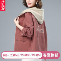 Middle aged and old women's wear Spring 2021 Skin pink green black M L XL 2XL 3XL commute Jacket / jacket easy singleton  Solid color 40-49 years old Cardigan moderate Hood Short (length 35-50cm) routine QYTS2021J2N9804 Chiba angel pocket pure cotton Cotton 100% 96% and above zipper