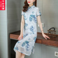 Middle aged and old women's wear Summer 2021 white L XL 2XL 3XL 4XL commute Dress easy singleton  Decor 40-49 years old Socket thin stand collar Medium length routine QYTS2021XTERZL706 Chiba angel polyester Polyester 100% 96% and above Pure e-commerce (online only) longuette