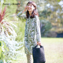 Dress Spring 2021 MP LL 3L MT LT M L Mid length dress singleton  Long sleeves commute Crew neck Loose waist Socket routine 30-34 years old Sunny clouds / sunnykula literature More than 95% cotton Cotton 100%