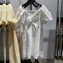 Dress Summer 2020 S,M,L,XL Middle-skirt singleton  Short sleeve commute V-neck middle-waisted Solid color Socket other puff sleeve Others 18-24 years old Type H URCOSSAN lady Button 31% (inclusive) - 50% (inclusive) cotton