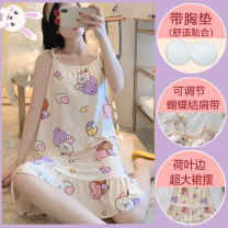 Nightdress Other / other 160(M),165(L),170(XL),175(XXL) Sweet camisole Leisure home longuette autumn Solid color youth Crew neck Polyester (polyester) printing 41% (inclusive) - 60% (inclusive) Cotton fabric