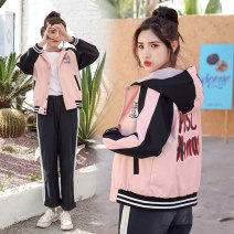 short coat Winter of 2019 S M L XL 2XL Black blue pink Long sleeves have cash less than that is registered in the accounts routine singleton  easy Versatile raglan sleeve Hood Single breasted letter 18-24 years old Kou Xueer 91% (inclusive) - 95% (inclusive) pocket cotton cotton Cotton 95% other 5%