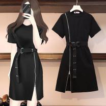 Women's large Summer 2021 black Dress singleton  commute easy Socket Short sleeve Korean version Crew neck routine Three dimensional cutting routine Middle-skirt