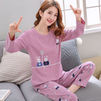 Pajamas / housewear set female Other / other M (70-90 kg), l (90-105 kg), XL (105-120 kg), XXL (120-145 kg) cotton Long sleeves Cartoon pajamas autumn Thin money Crew neck Cartoon animation trousers Socket youth 2 pieces rubber string More than 95% printing 200g and below