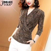 T-shirt S M L XL XXL 3XL 4XL Summer of 2019 Short sleeve V-neck Self cultivation Regular routine commute polyester fiber 96% and above 30-34 years old Simplicity Leopard Print JINKAIX Polyester 100% Pure e-commerce (online only)