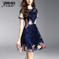 Dress Summer of 2018 navy blue S M L XL XXL XXXL Short skirt singleton  Short sleeve commute Crew neck High waist Solid color zipper A-line skirt routine Others 25-29 years old Type A JINKAIX Ol style Embroidery JKX18C198 More than 95% organza  polyester fiber Polyester 100%