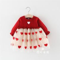 Dress gules female Other / other 66cm,73cm,80cm,85cm,90cm,95cm,100cm Cotton 80% other 20% spring and autumn lady Long sleeves Solid color Cotton blended fabric A-line skirt 3 months, 12 months, 6 months, 9 months, 18 months, 2 years old, 3 years old