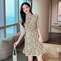 Dress Summer 2021 Yellow and purple flowers S M L XL Short skirt singleton  Short sleeve commute stand collar High waist Broken flowers Socket Ruffle Skirt routine Others 25-29 years old Type A Yunmi Flower Fairy Korean version printing 9193S More than 95% other polyester fiber 100.00% polyester