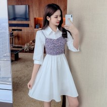 Dress Summer 2021 white S M L XL 2XL Short skirt Two piece set elbow sleeve commute Polo collar High waist other Socket A-line skirt routine camisole 25-29 years old Type A Yunmi Flower Fairy Korean version Splicing 3571S More than 95% other polyester fiber 100.00% polyester