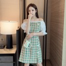 Dress Summer 2021 Red green S M L XL Mid length dress singleton  Short sleeve commute One word collar High waist lattice Socket A-line skirt puff sleeve Others 25-29 years old Type A Yunmi Flower Fairy Korean version Asymmetry 3350S More than 95% other polyester fiber 100.00% polyester