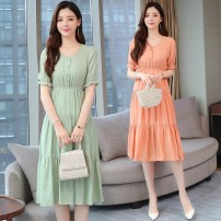 Dress Summer 2021 Pink Green S M L XL 2XL Middle-skirt singleton  Short sleeve commute V-neck High waist Solid color Socket Big swing pagoda sleeve Others 25-29 years old Type A Yunmi Flower Fairy Korean version fold eighty-nine thousand seven hundred and seventy # More than 95% Chiffon