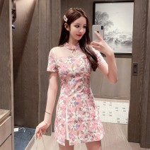 Fashion suit Summer 2021 S M L XL Pink Blue 25-35 years old Yunmi Flower Fairy 30% and below Polyester 85 . 00 %  Polyethylene terephthalate ( polyester fiber ) fifteen . 00 % Pure e-commerce (online only)