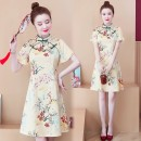 Dress Summer 2021 Decor M L XL 2XL 3XL 4XL Middle-skirt singleton  Short sleeve commute stand collar High waist Animal design zipper A-line skirt Lotus leaf sleeve Others 25-29 years old Type A Yunmi Flower Fairy Korean version printing 850S More than 95% other polyester fiber 100.00% polyester