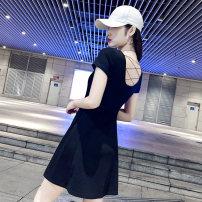 Dress Summer 2020 black S M L XL Short skirt singleton  Short sleeve commute Crew neck High waist Solid color Socket A-line skirt routine 25-29 years old Budoshin Splicing More than 95% cotton Cotton 95% polyurethane elastic fiber (spandex) 5%