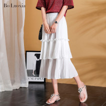 skirt Summer 2020 Average size Black and white Mid length dress commute High waist Cake skirt Solid color Type A 25-29 years old More than 95% Pineapple summer polyester fiber Three dimensional decorative stitching with folds Korean version Polyester 100% Exclusive payment of tmall