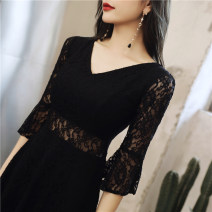 Dress Spring 2021 Black and white S M L XL XXL Short skirt singleton  three quarter sleeve commute V-neck High waist pagoda sleeve Others 25-29 years old Type A Nine sisters Korean version Stitching wave zipper lace JM19062 More than 95% Lace polyester fiber Pure e-commerce (online only)