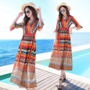 Dress Summer of 2019 27 orange striped flower yellow broken flower M L XL XXL 3XL S longuette singleton  elbow sleeve Sweet V-neck middle-waisted Broken flowers Socket Big swing pagoda sleeve Others 25-29 years old Type A Qiaomeixian Pleated lace up printing Q19sf0023 More than 95% Chiffon Bohemia