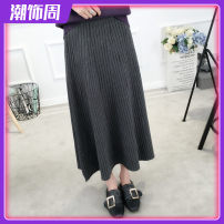 skirt Winter 2017 Average size Grey, black, brown longuette Versatile High waist A-line skirt Solid color 71% (inclusive) - 80% (inclusive) other other